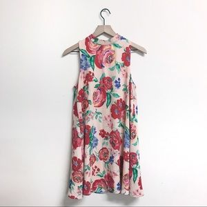 Pink Floral Halter Sleeveless Dress Size Small